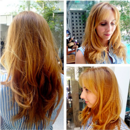 Single process reddish golden blonde with balayage ombré